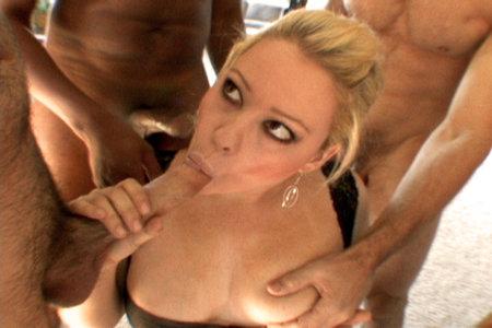 Busty blonde Brooke Scott sucks big cocks before her friend Kirra Lynne gets bukkake facial