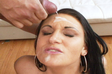 Chick gets covered in lots of cum after sucking multiple cocks