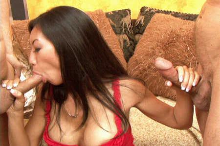 Asian slut Mia Ling sucks three big dicks and loves the fuck out of it
