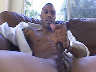 Gay Solo Masturbation : Hung stud wanking his enormous little soldier off until he blows load!