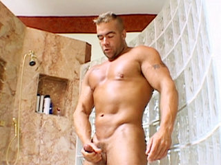 Gay Solo Masturbation : big size sweaty dude whacks off in the shower and sucks load!