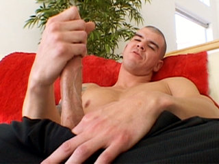 Gay Solo Masturbation : Pauly Harker jerks his tool before shooting man sauce on his stomach!