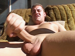 Gay Solo Masturbation : Studly Brett Bryant tugs his meat before shooting sex cream of splooge on himself!