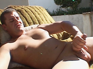 Gay Solo Masturbation : Studly Brett Bryant tugs his meat before shooting semen of splooge on himself!