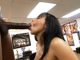 Interracial Porn : Black beauty blows and bangs huge black bone before getting face covered in cream!