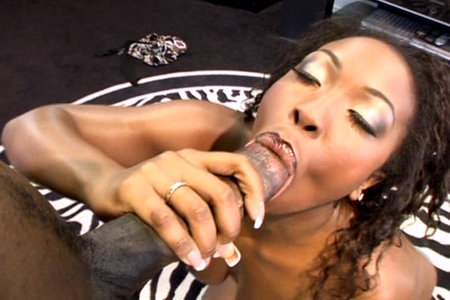 Ebony babe sucks Lex Steele's cock from Lex POV