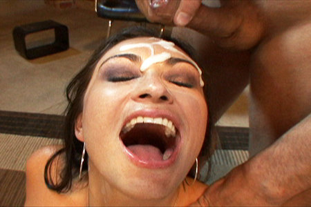 Slutty Claudia Valentine gets covered in big thick cocks