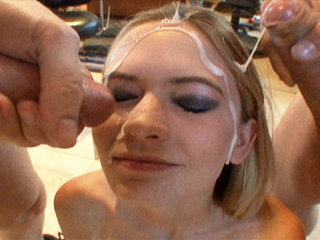 Michelle Honeywell swallows creamy load of cum before getting her face covered in nut goo