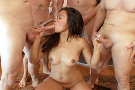Pornstar Tasha Lynn gets blow banged by multiple cocks before bukkake facial
