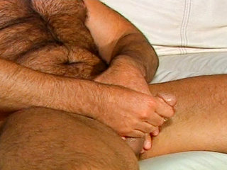 Gay Mature Men : Steve majors rubbing and oiling up his huggest stiff dick!