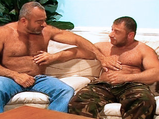 Gay Mature Men : Muscle Mike gets fucked in the back hard by Christian Volt!