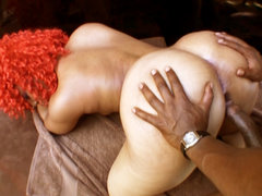 Voluminous ass slut gets pumped. Big anal bitch Luscious Louis gets pumped with black dick before receiving facial