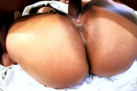 Ebony babe Flame gets cunt pumped before eating a hot load of cum in this video
