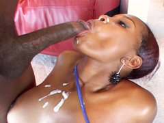 Apple booty bitch gets plowed. Apple booty slut gets plowed by a huge ebony shaft.