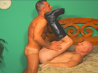 Gay Mature Men : biggest bald fucker gets fucked hard by excellent boy John Marcus!