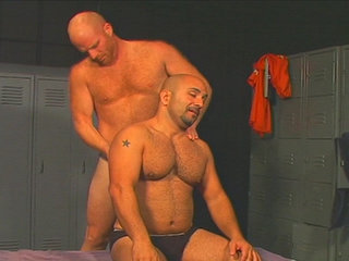 Gay Mature Men : huge hot sperm get blown every over the locker room after nasty fuck session!
