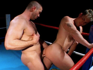Gay Big Dick : Boxing jocks get nasty in the ring before blowing semen on each other!
