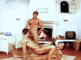 Gay Big Dick : Muscle studs play with penises before moving below deck to fuck and shoot jizz on one another!