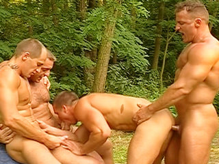 Gay Big Dick : Muscle Men suck and fuck each others throbbing tools in this hot forest encounter!