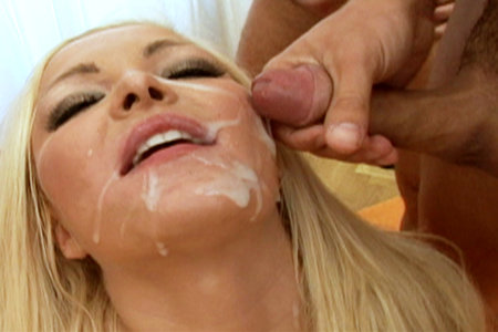 Tight bodied Jenna Lovely bukkake style facial after she blows on multiple hard cocks