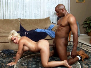 Sammie Spade slammed doggie style by a black cock in this hardcore scene
