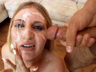 Facial Cumshot : latina Lane facial bukkake style after sucking on as many cocks as she can take!