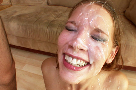 Rebecca Riley gets blow banged by multiple hard cocks before bukkake facial