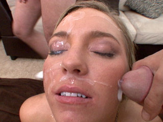 Facial Cumshot : Ally Kay motivates contractors via blow bang and facials!